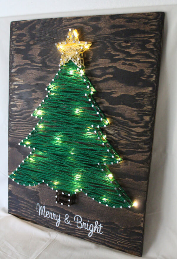 Light Up Christmas Tree String Art