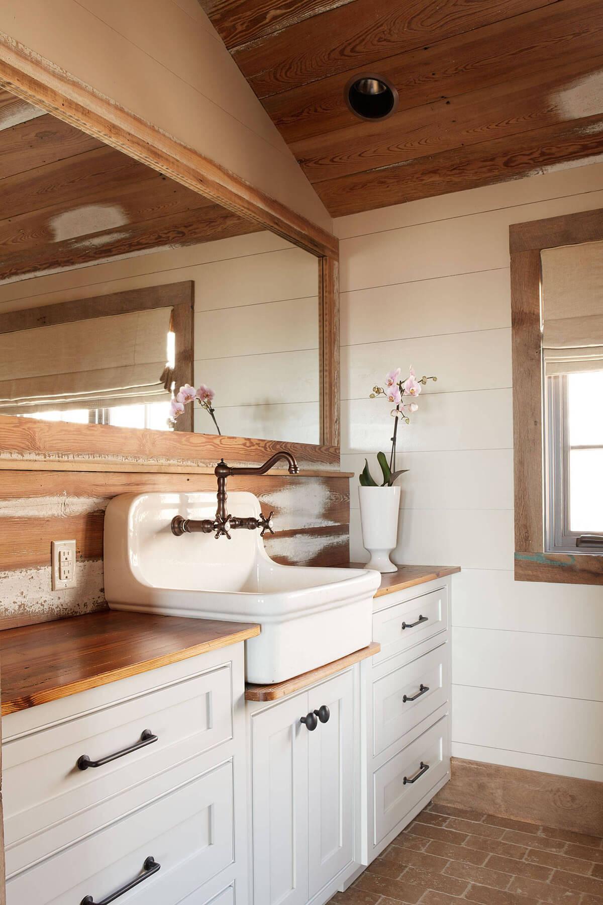 Rustic Wood Backsplash with Unique Sink Basin