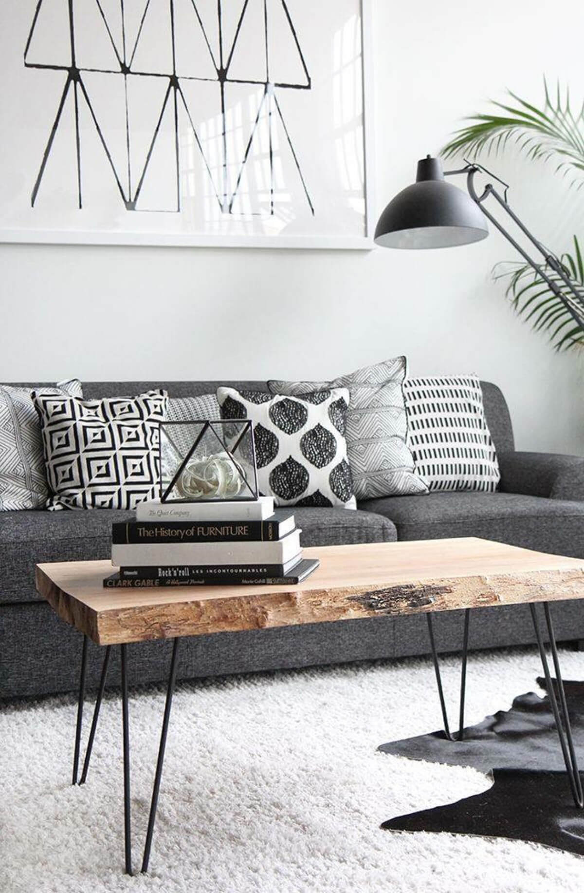 Wood-slab Statement Table and Black and White Book Display