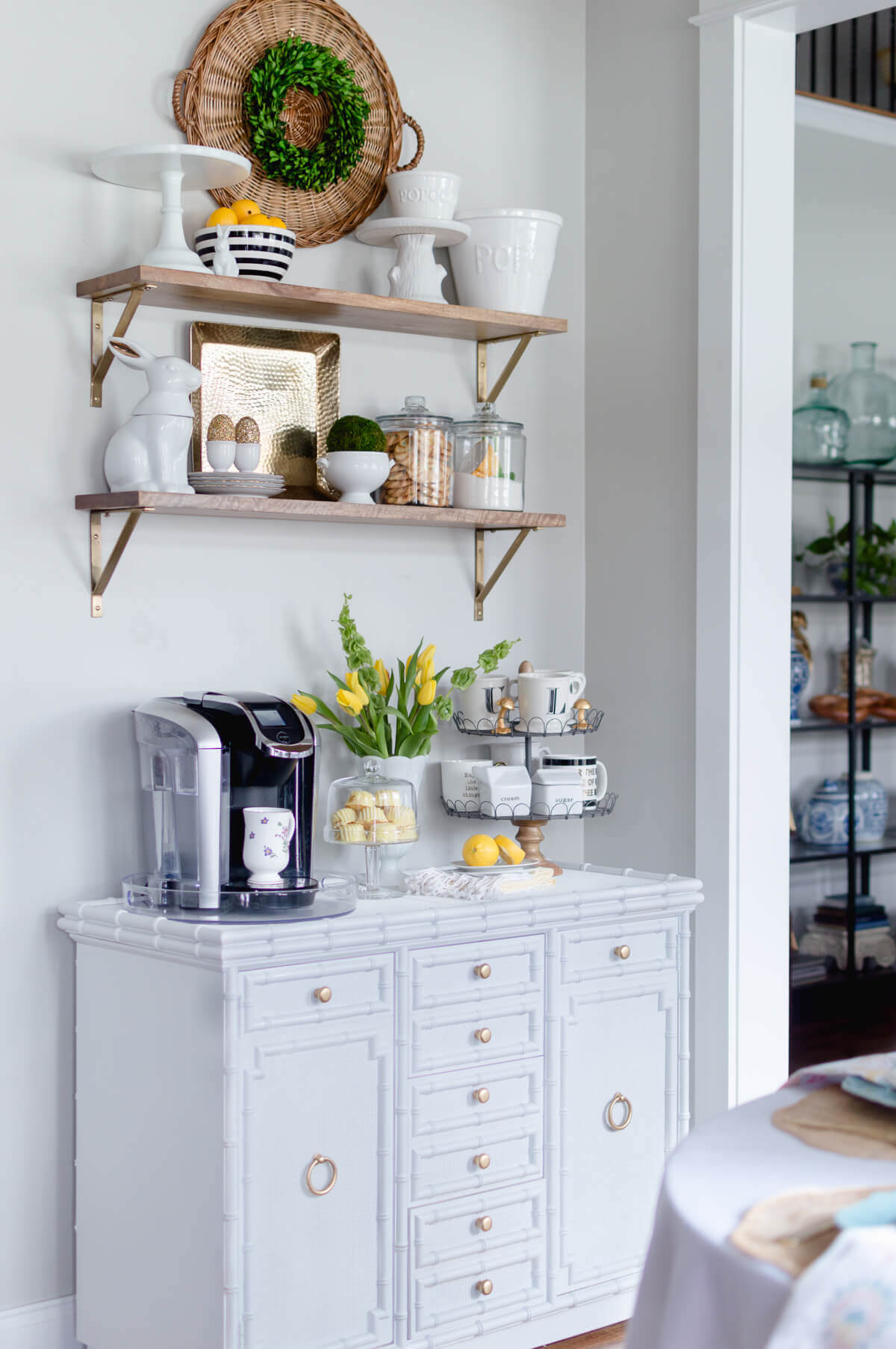 Coffee Cabinet with Yellow Accents