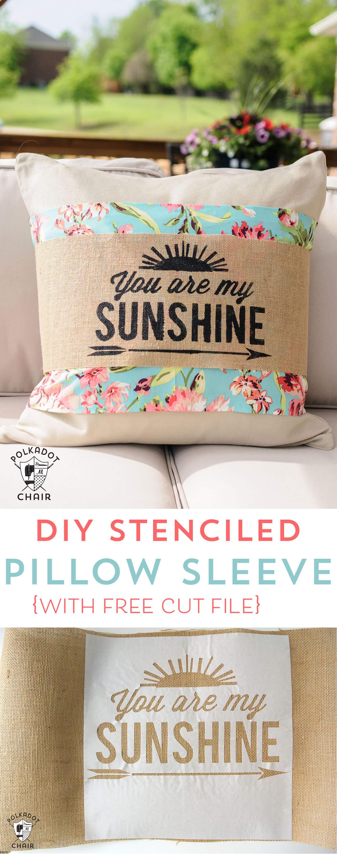 Joyful Lounging DIY Stenciled Pillow Sleeve