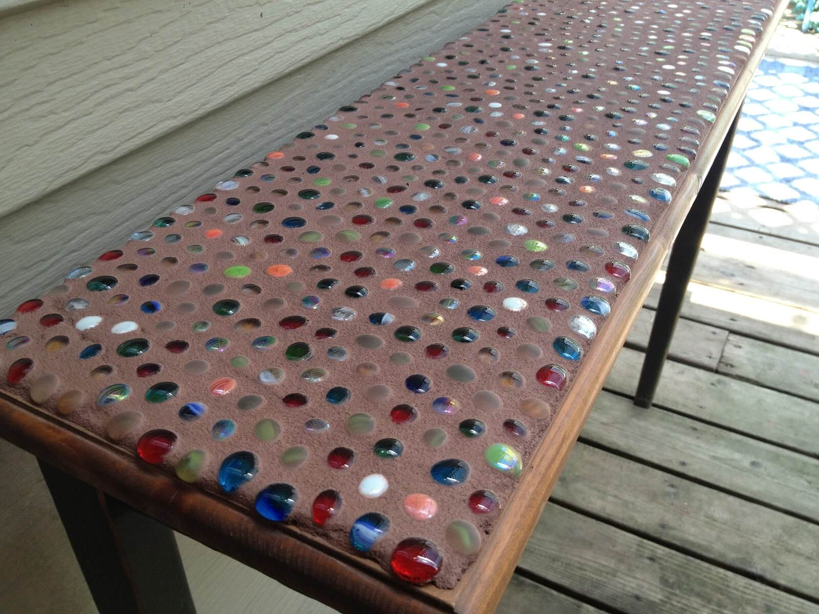 Outdoor Side Table with Colorful Mosaic