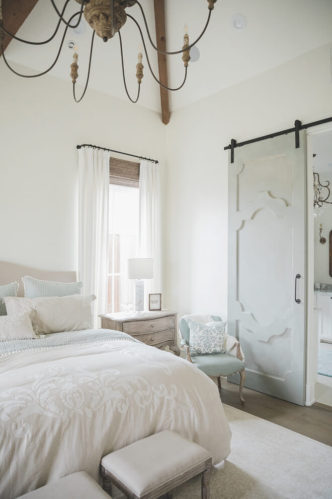 White Bedroom with Pale Blue Accents