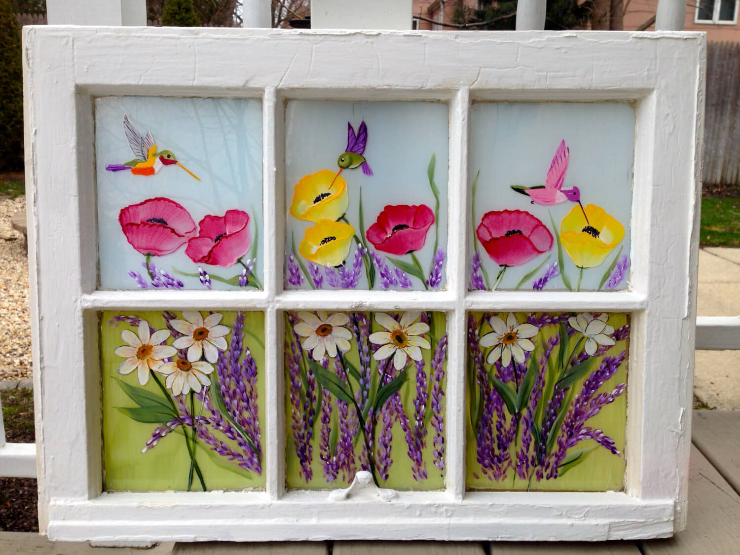 Beautiful Hand Painted Hummingbirds and Flowers