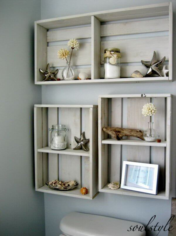 Repurposed Wood Crate Storage Shelves