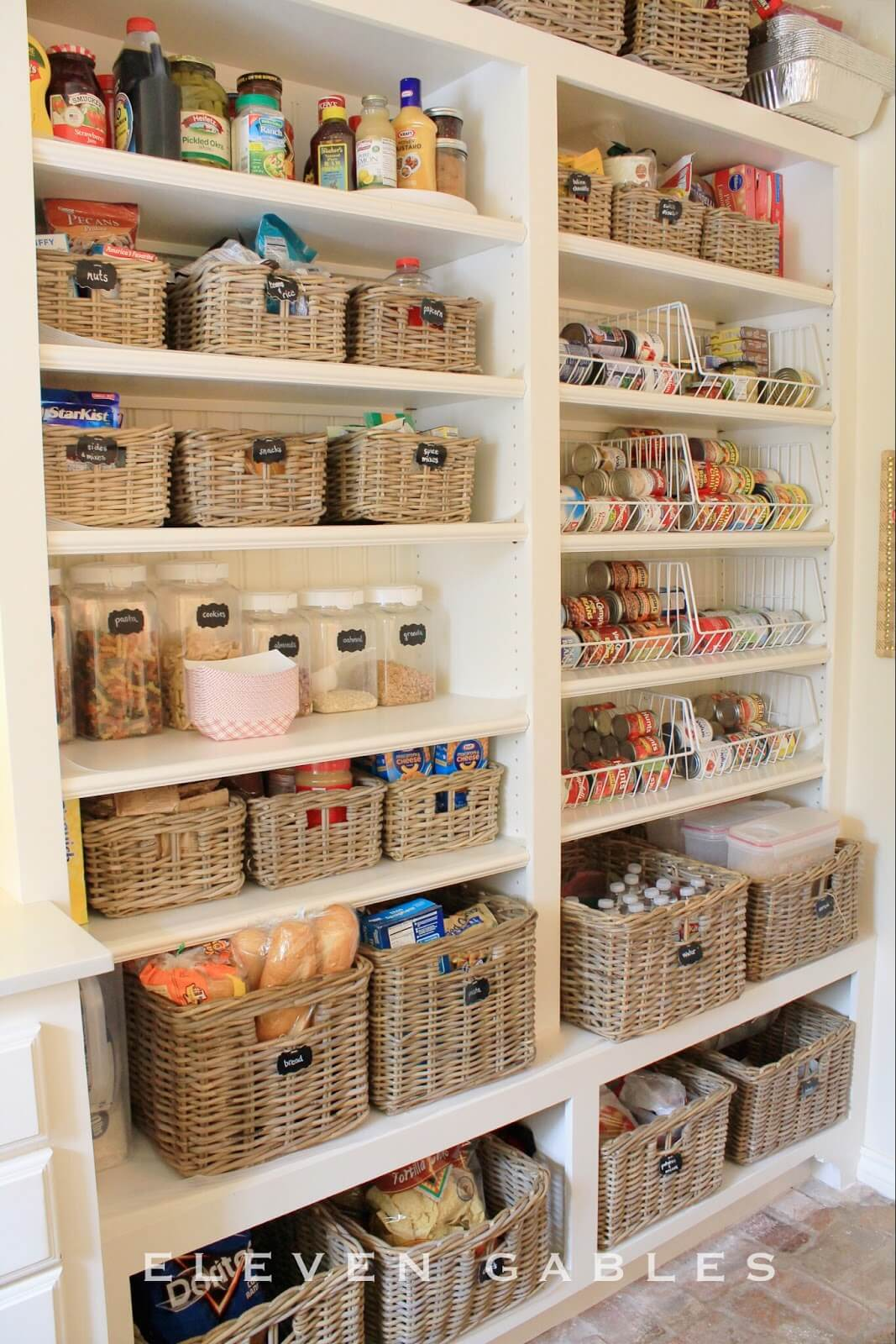 Lots of Square Baskets on Shelves