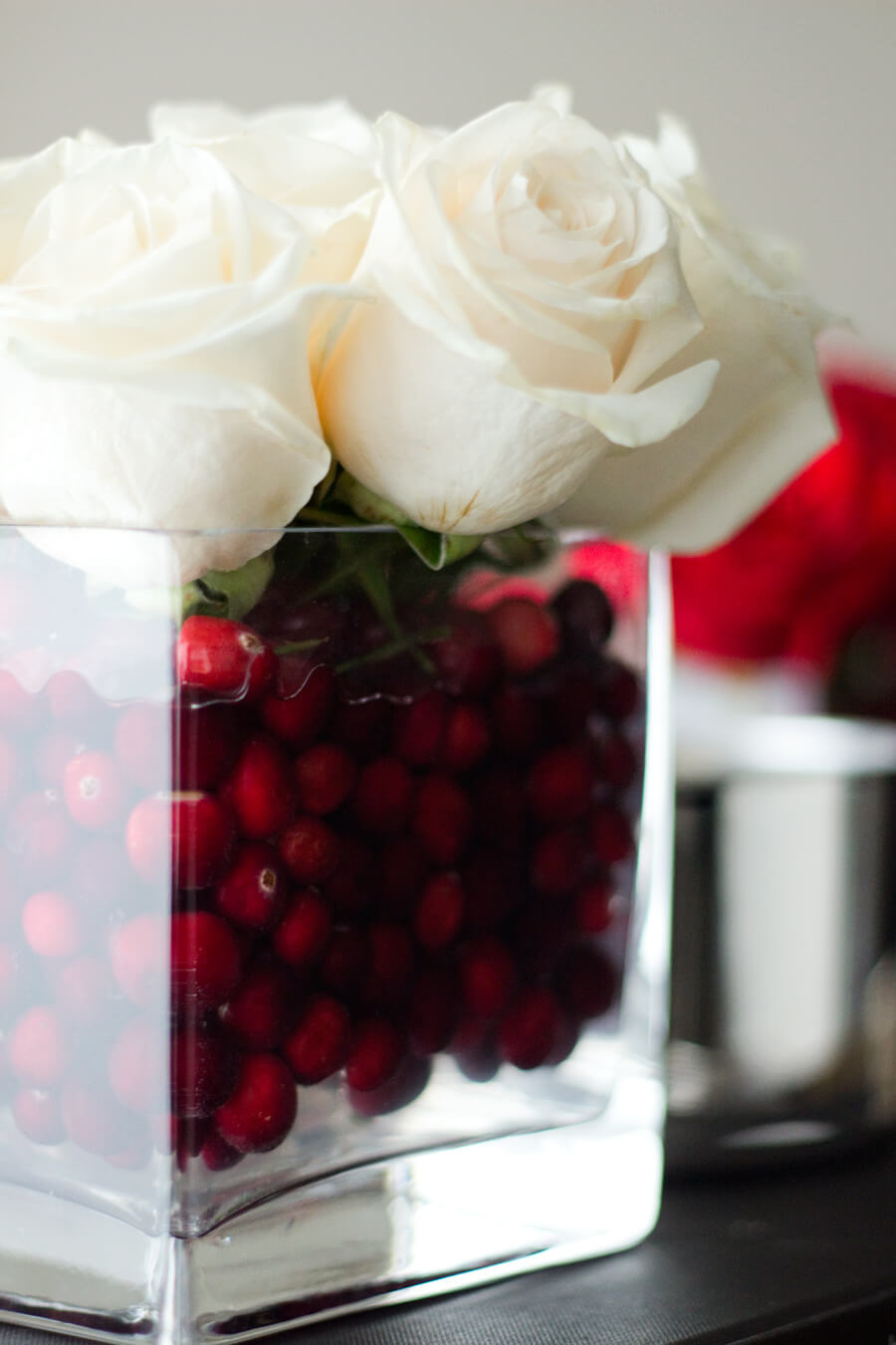 White Roses, Red Berries, Crystal Cubes