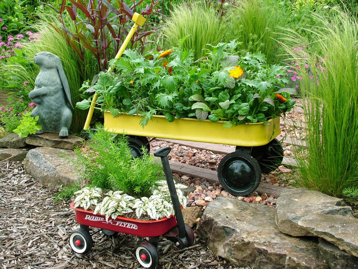 Little Metal Wagons with Flowers and Greens