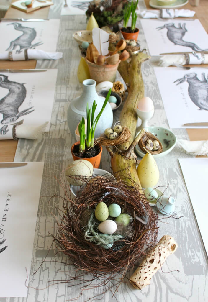 Eclectic Easter Egg Nest Table Runner Centerpiece
