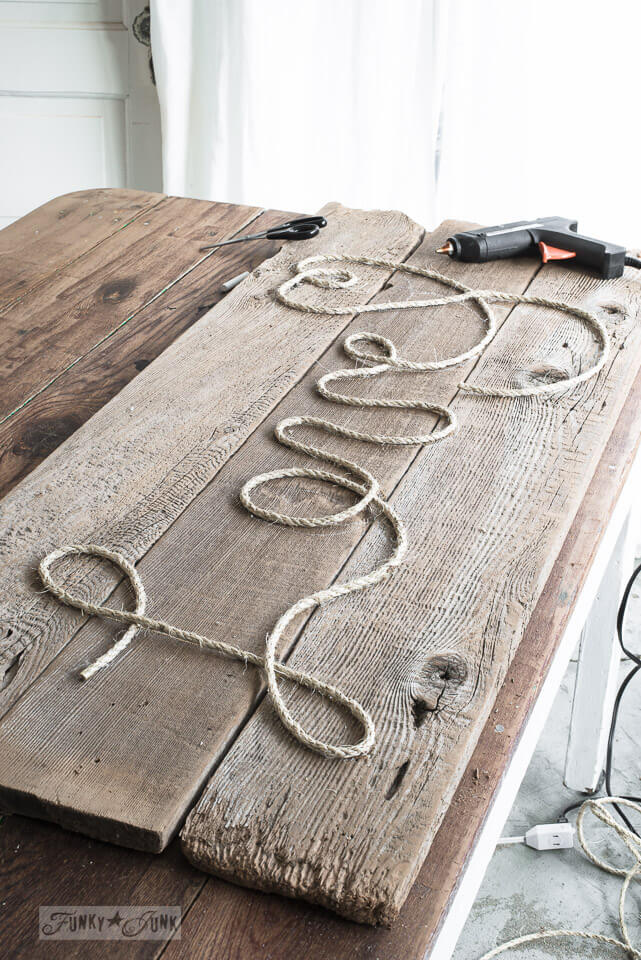 Country Inspired Wood and Twine Sign