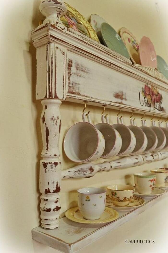 Distressed Wood Floating Shelf With Mug Hooks