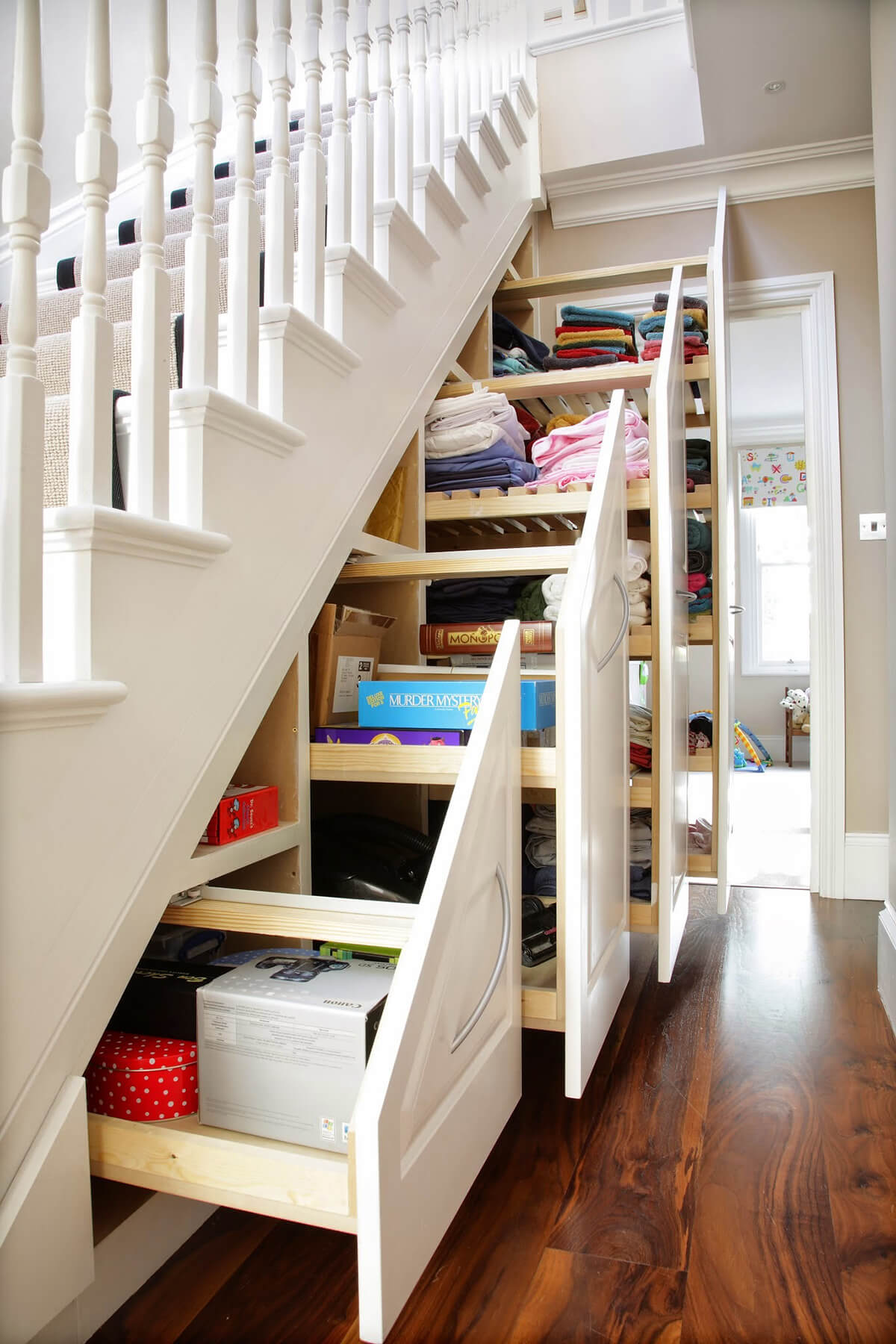 Extendable Stair Inset Storage Shelves