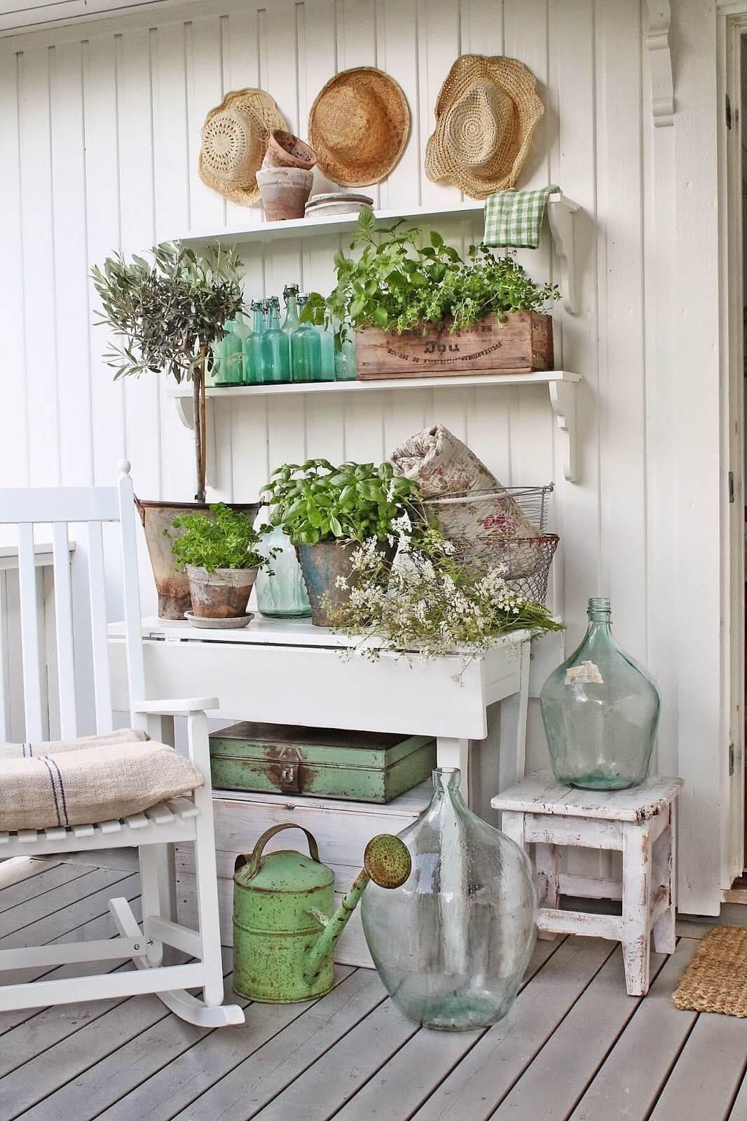 Fresh Greens and Aqua Glass