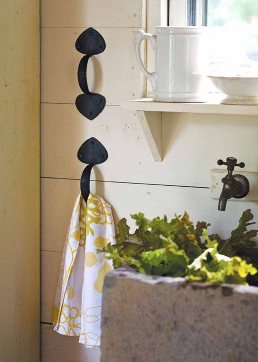 Towel Hooks Made from Vintage Iron Door Handles