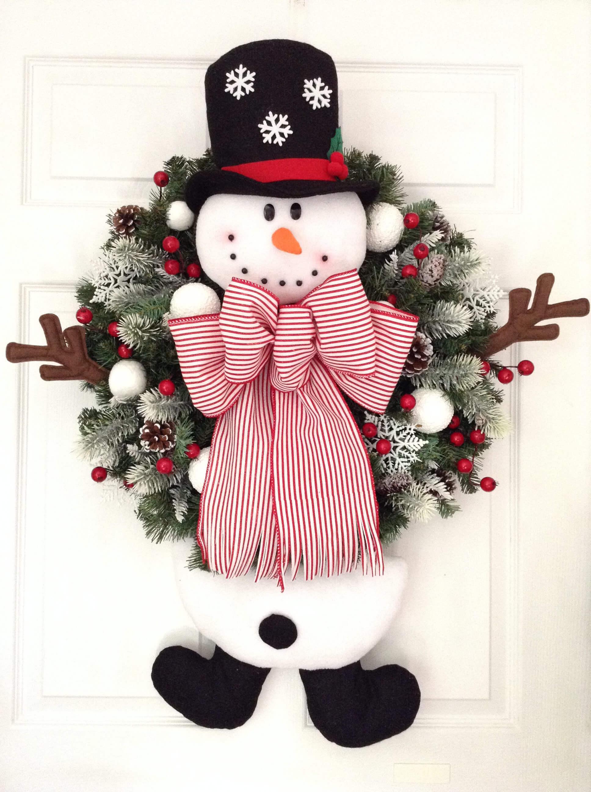 Friendly Snowman Front Door Greetings