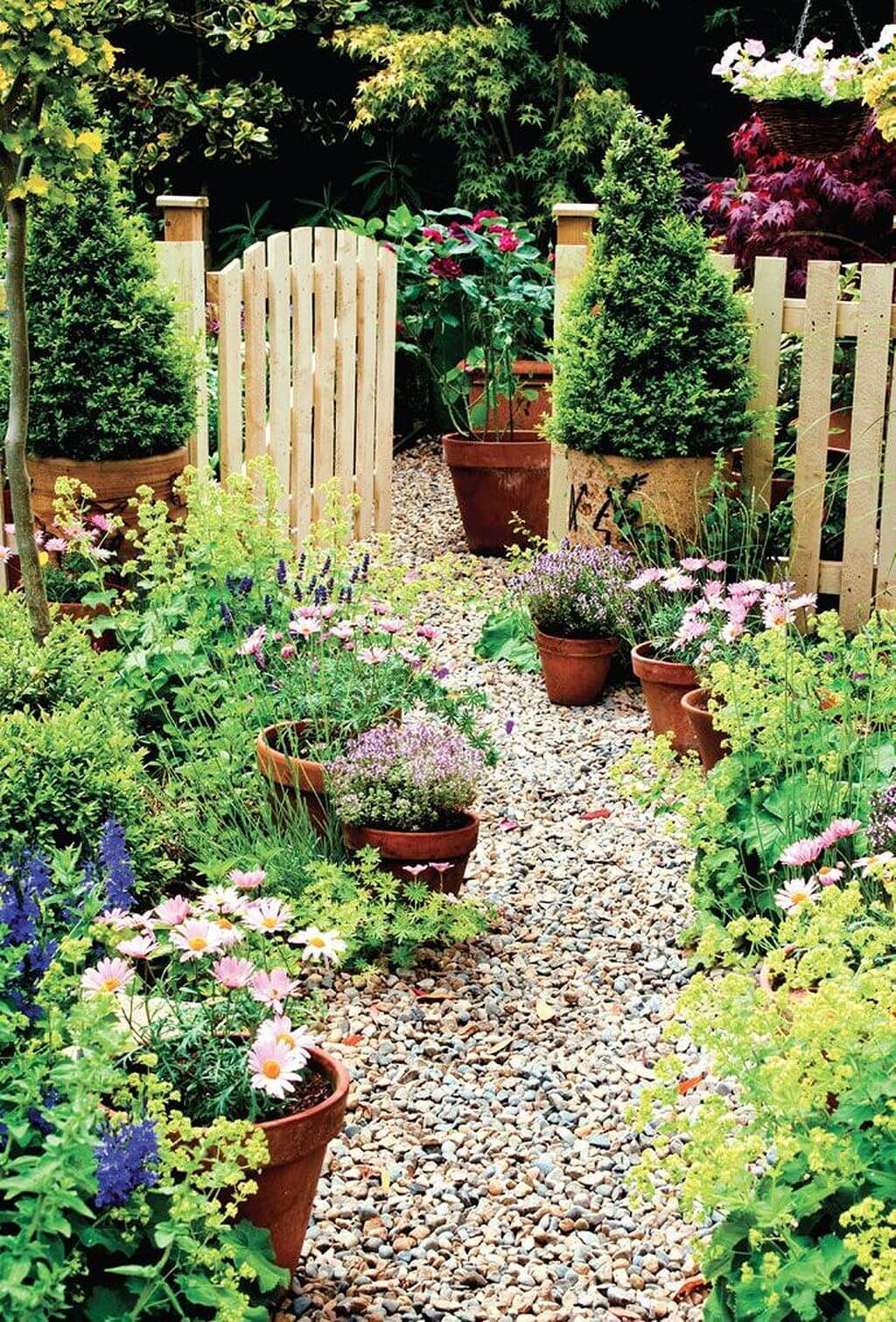 Meandering Path with Potted Flowers