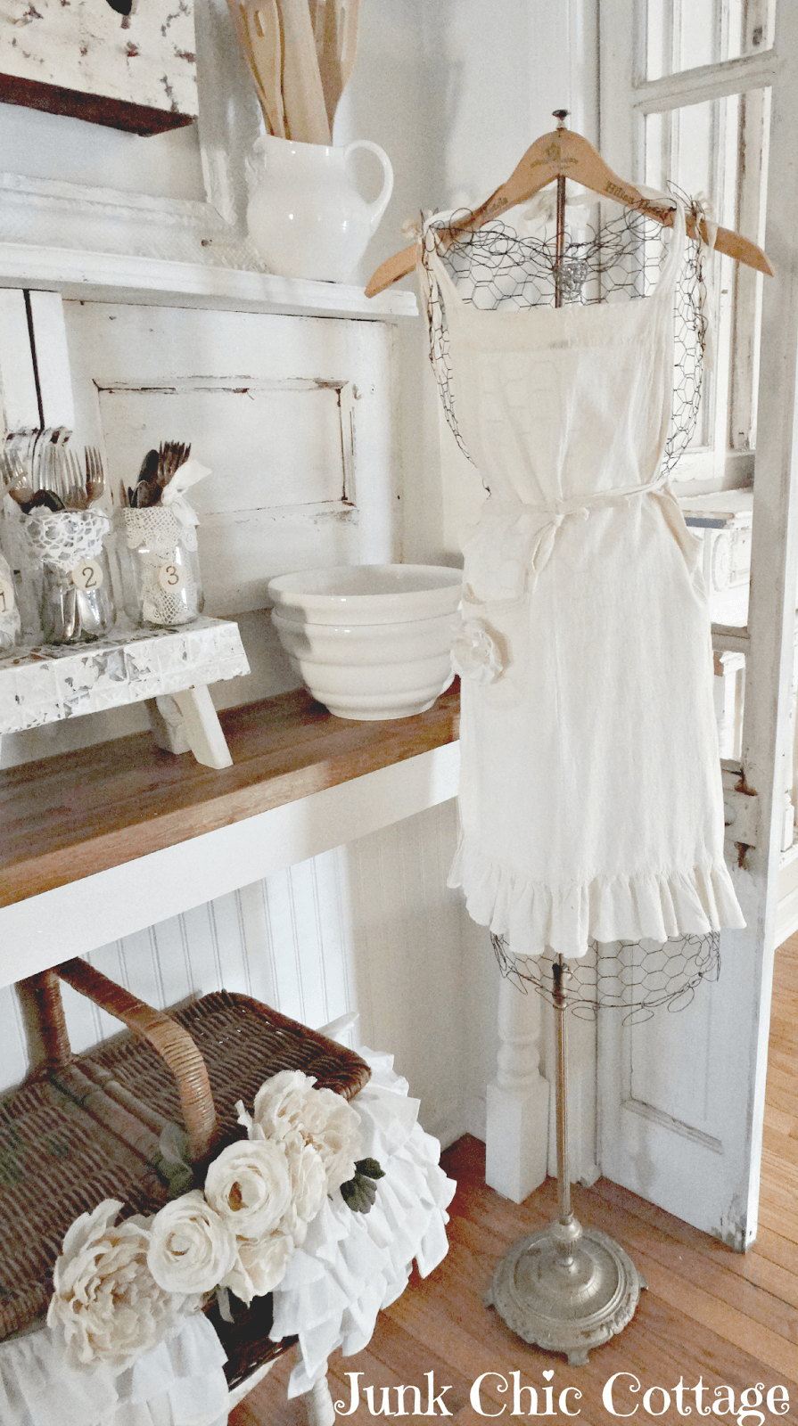 Chicken Wire Dress Form with Cute Apron