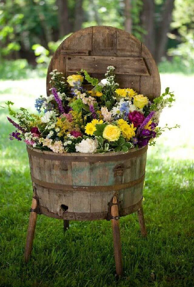 Antique Wooden Washtub Flower Planter