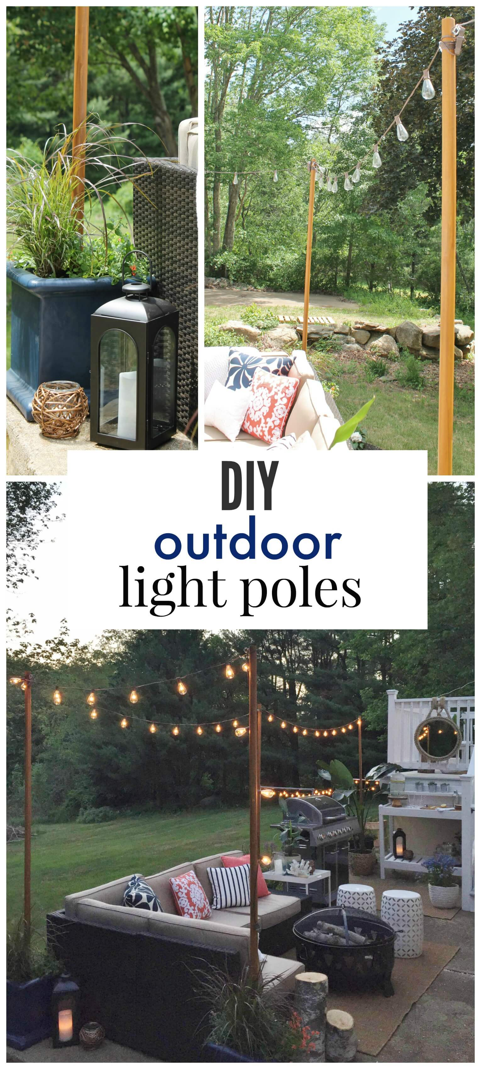 Stringing Night Lights Outdoor Poles