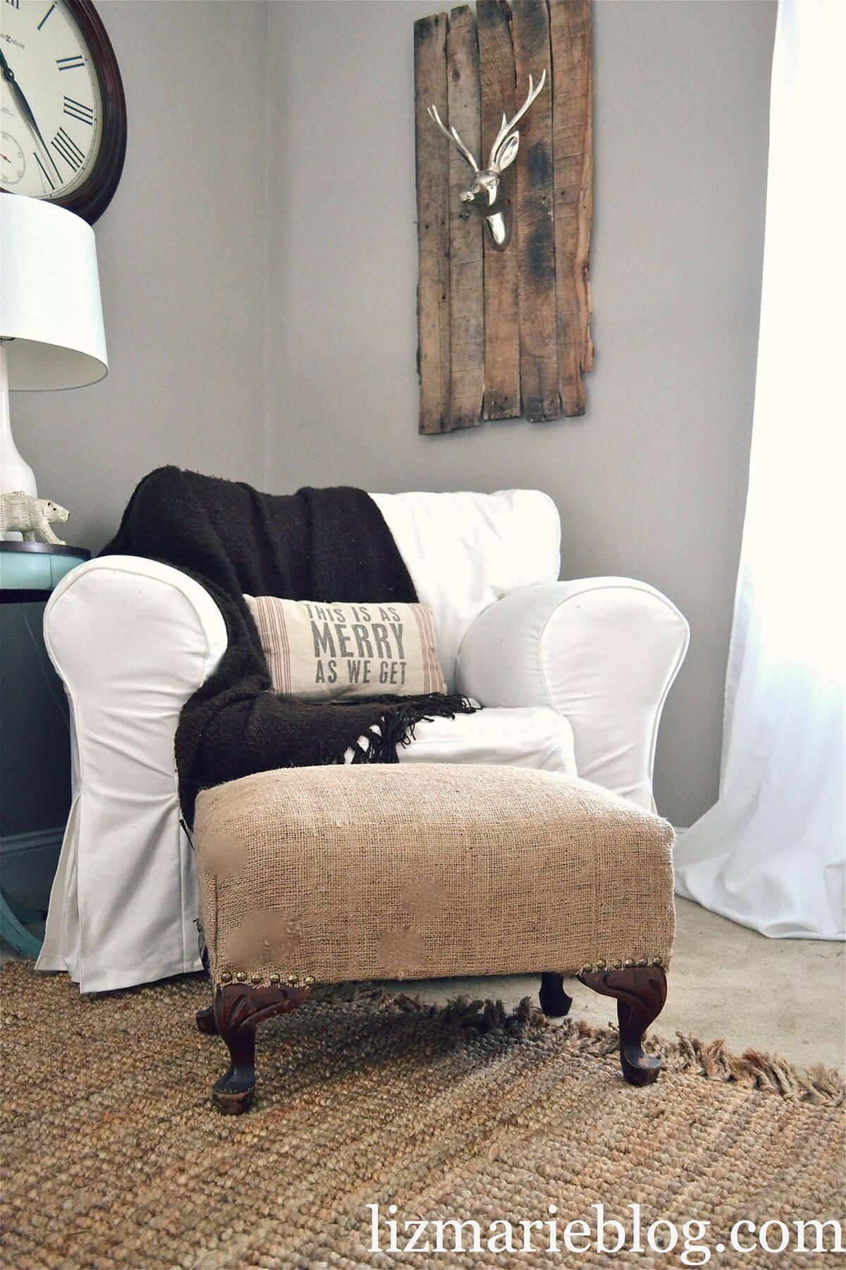 Country Chaise DIY Burlap Decoration Ideas