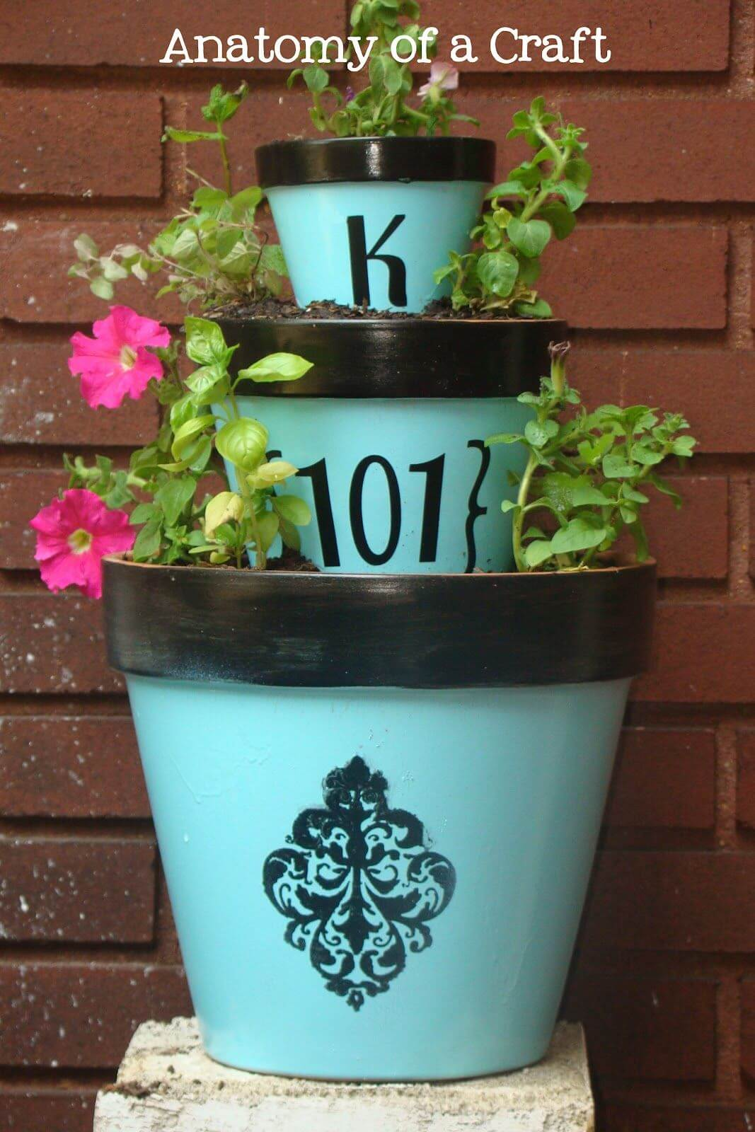 Stenciled Clay Pots with Initial and Number
