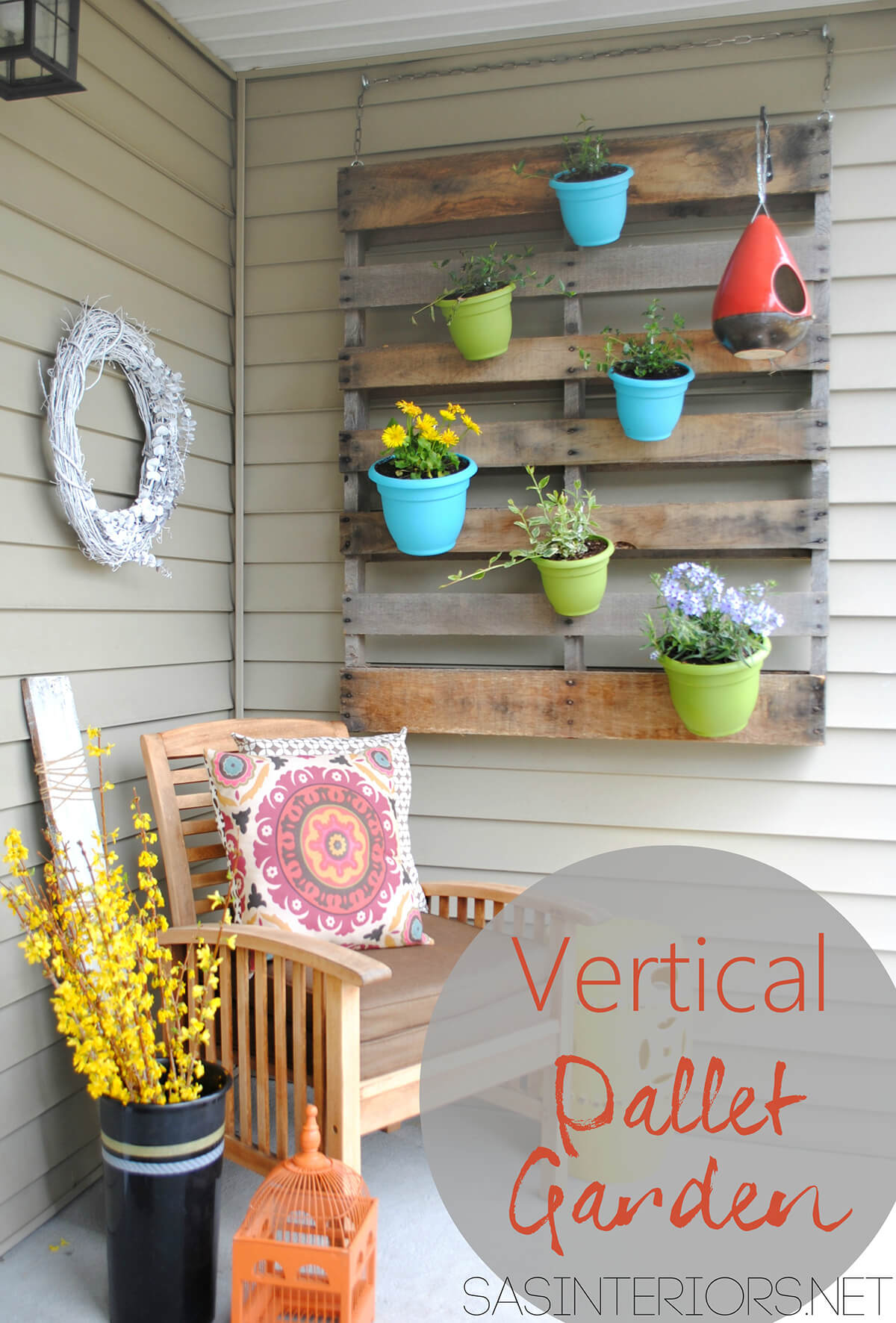 Porch Pallet and Pots Wall Art