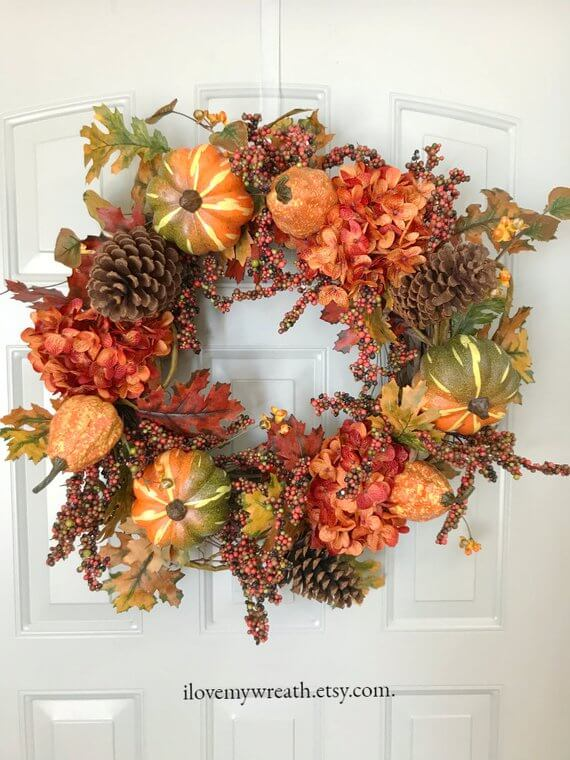 Handmade Fall Hydrangea Wreath