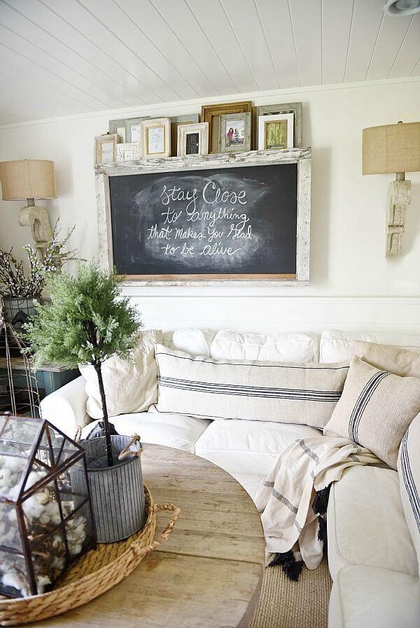 Simple Chalkboard Living Room Wall Art
