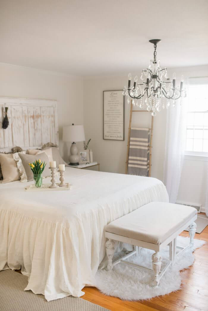 Traditional White Room with Reclaimed Headboard