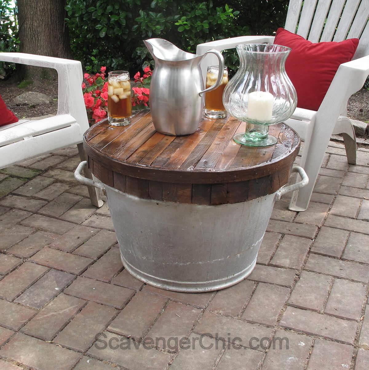 Weatherproof Outside Table with Galvanized Bucket Base
