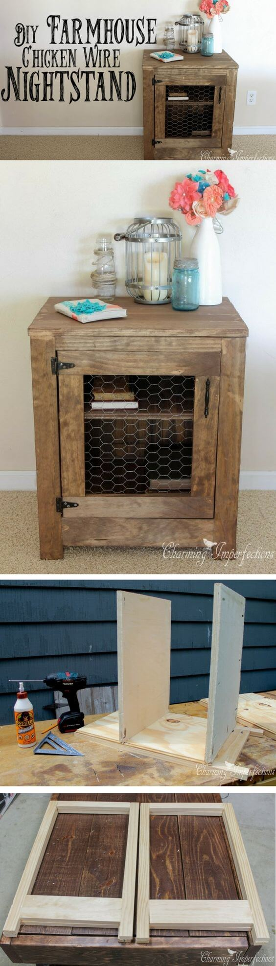 Country Farmhouse Nightstand Exudes Hominess