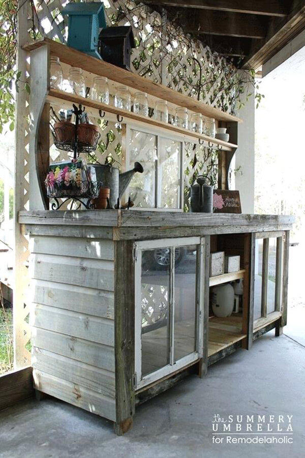 Useful Potting Bench with Window Accents