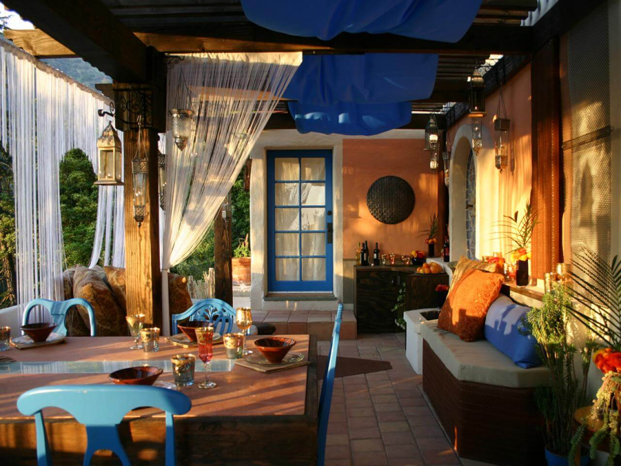 Dreamy Patio Dining Area with Blue Accents