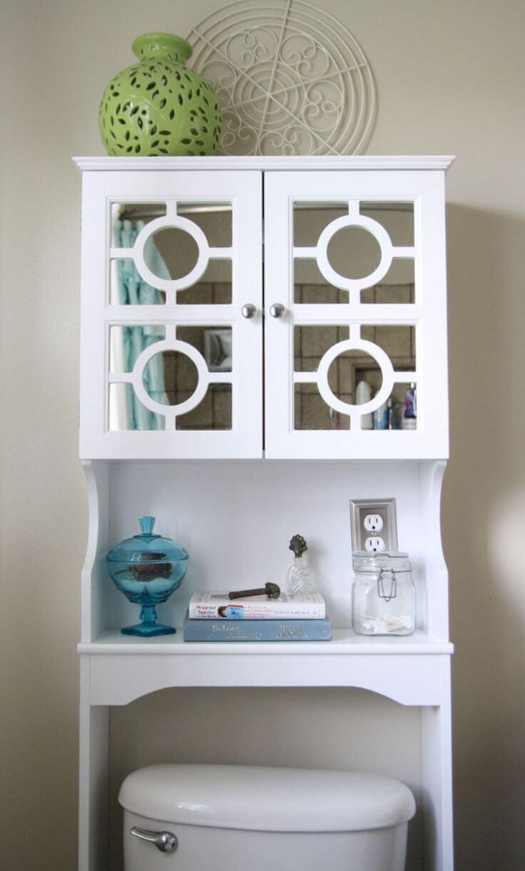 Upcycled Cabinet Bathroom Storage Idea