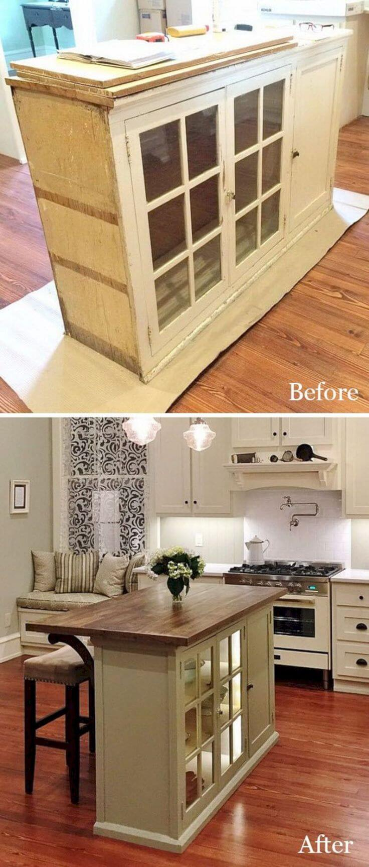 China Cabinet to Kitchen Island Upcycle