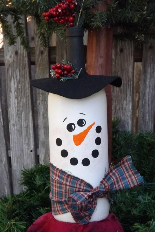 Snowman-Inspired DIY Wine Bottle Craft