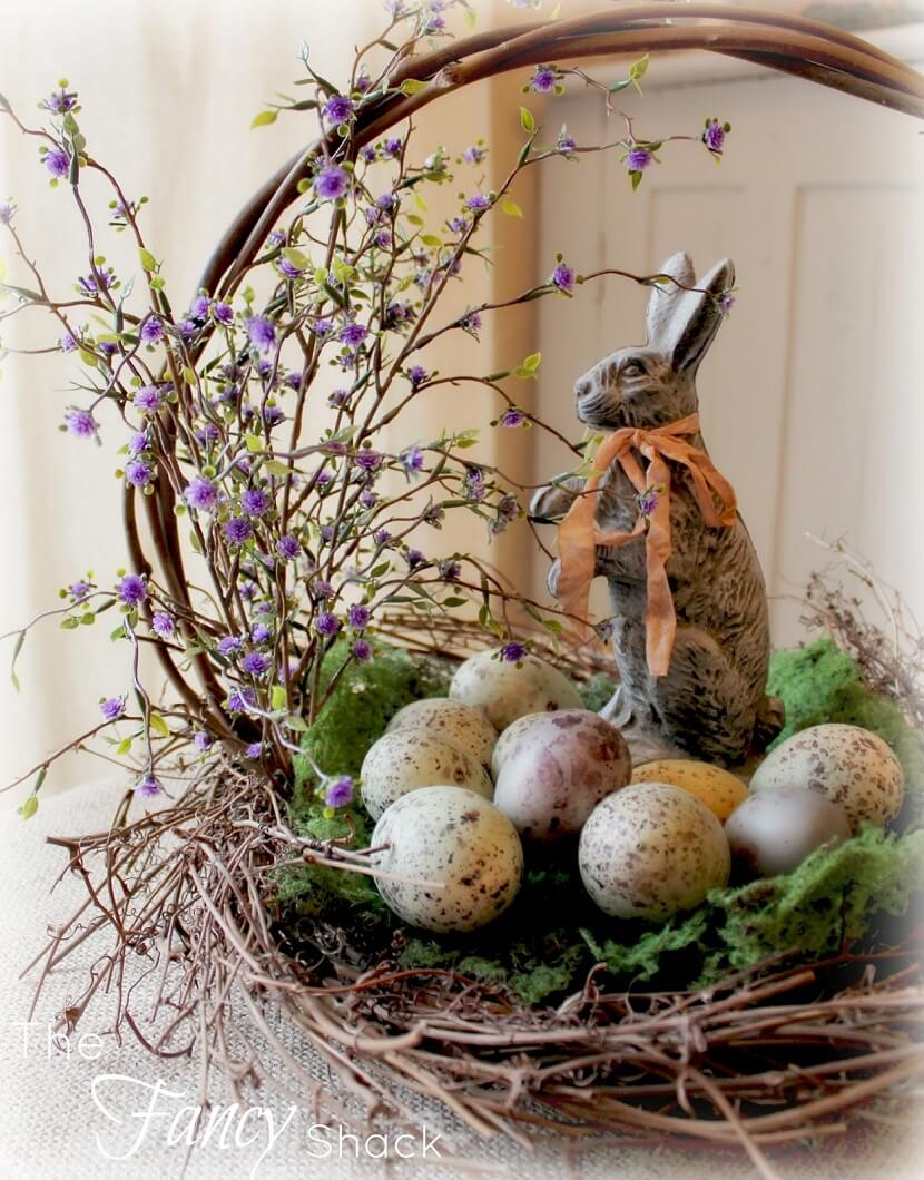 Basket with Speckled Eggs, Bouquet, and Bunny
