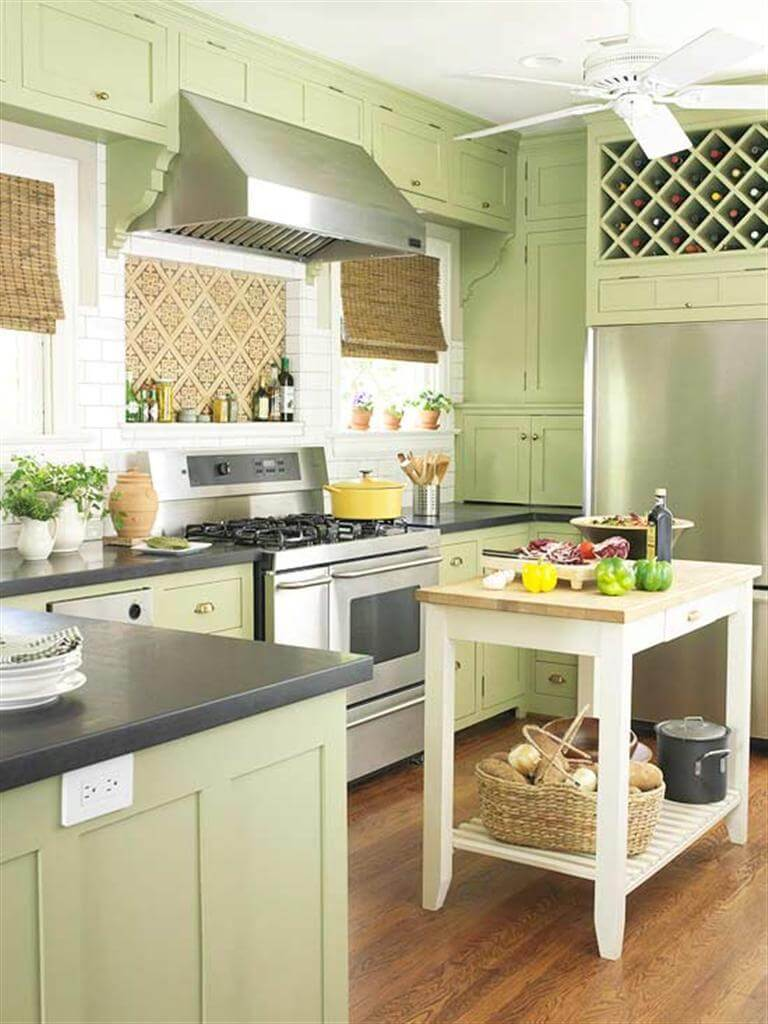 Rustic Key Lime Kitchen Cabinets