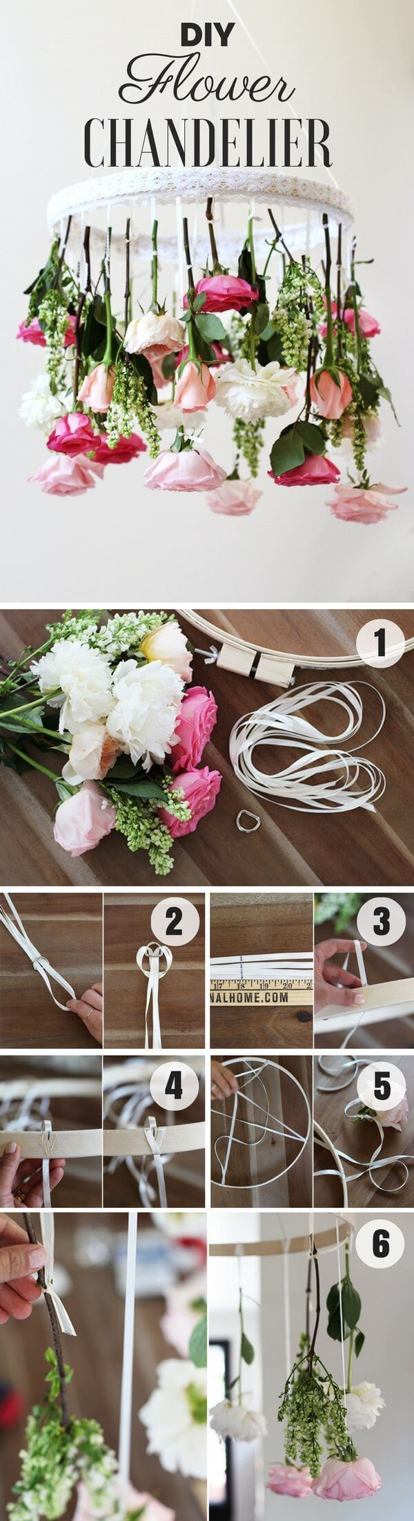 DIY Fresh Flower Chandelier