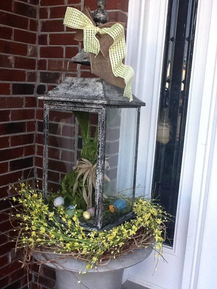 Antique Lantern Easter Bunny Porch Decoration