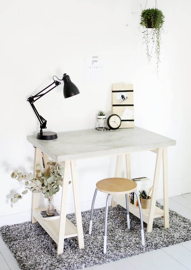 Sawhorse Style Desk in Gray and White