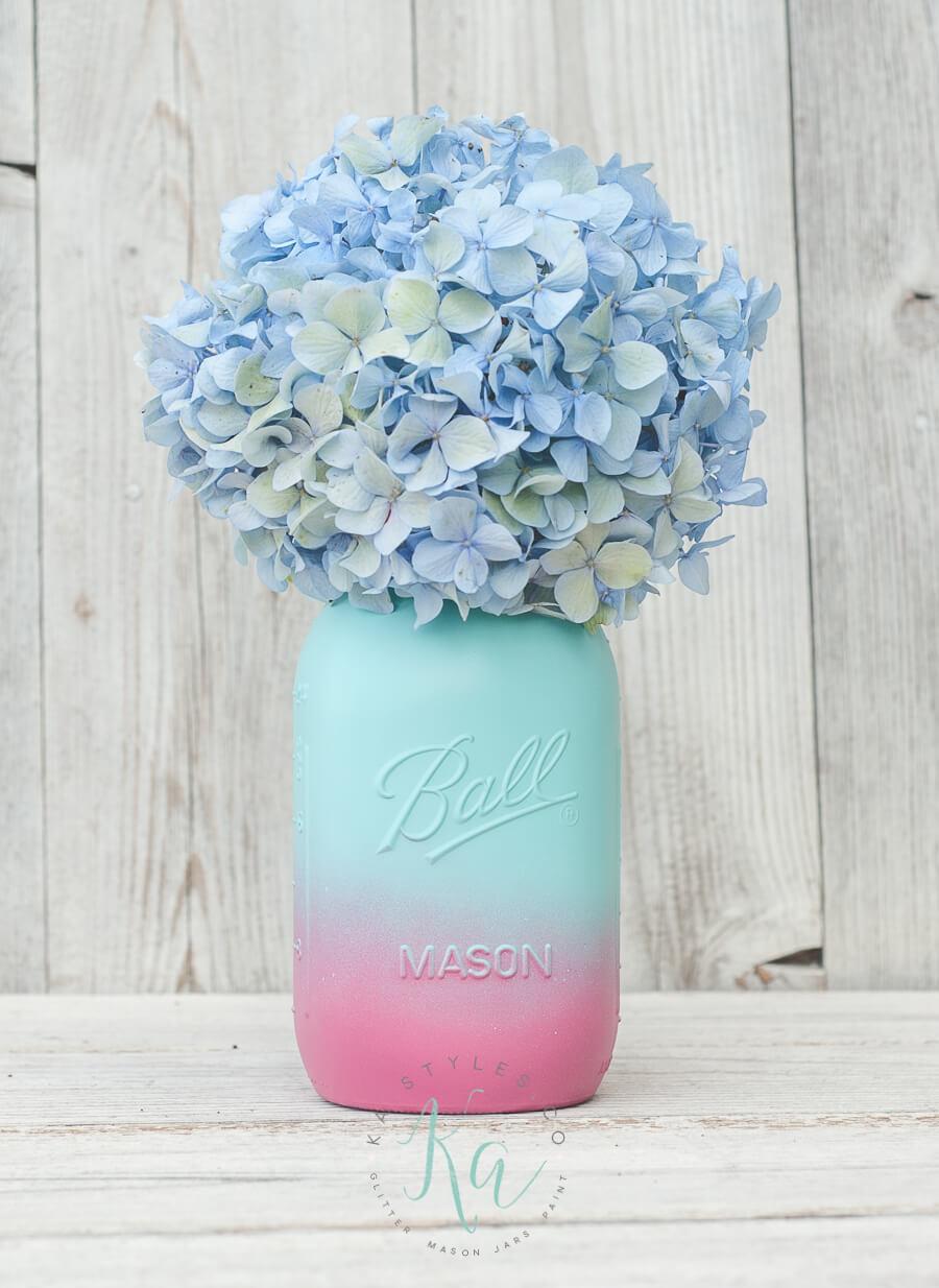 Lovely Ombre Mason Jar with Hydrangeas