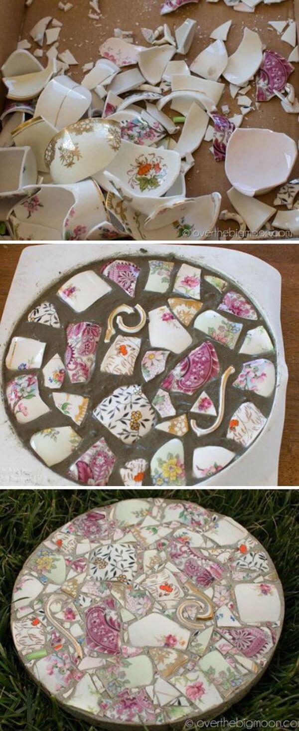 Elegant Broken China Garden Stone