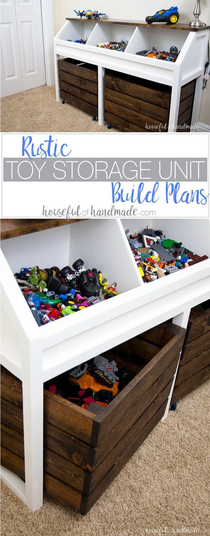 DIY Rustic Toy Storage Unit