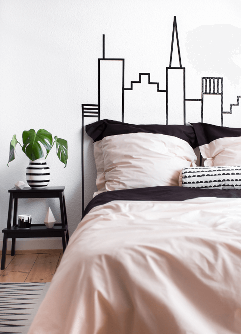 Washi Tape Skyline Headboard Wall Decoration