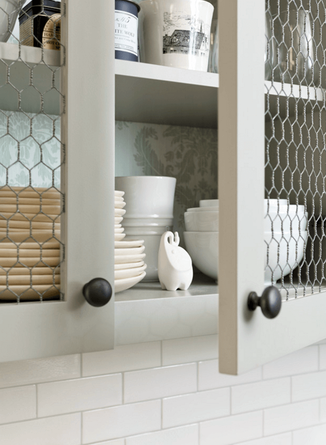 Light Olive Chicken Wire Open-Face Cabinets