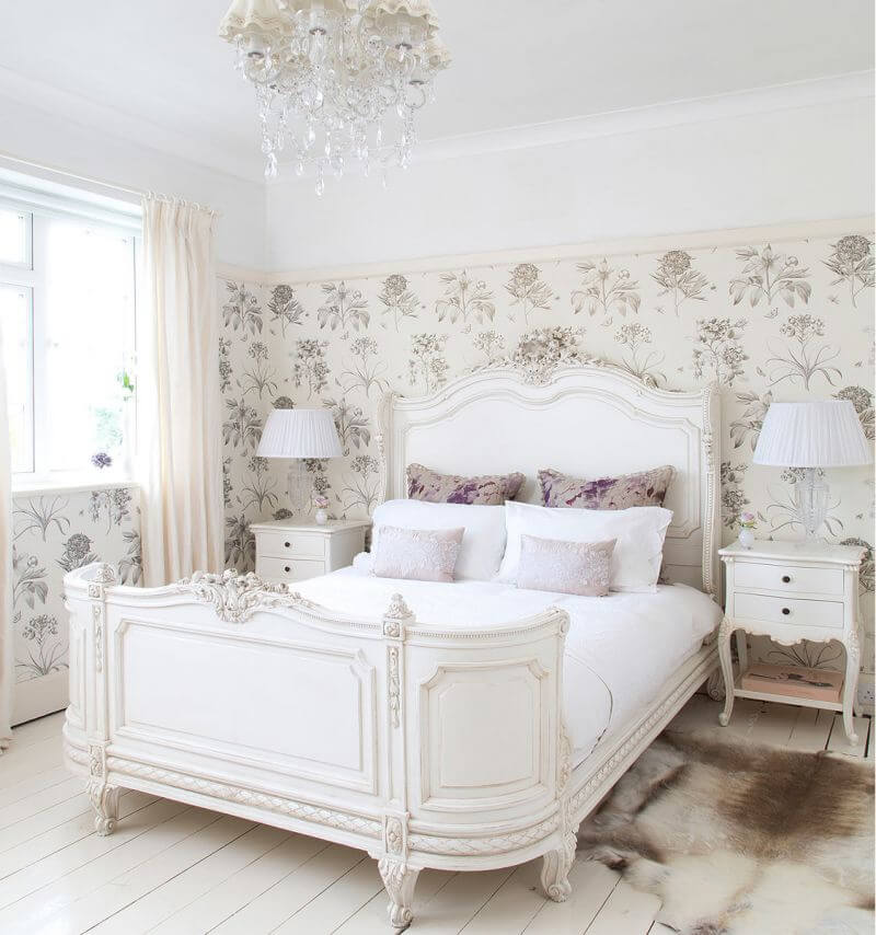 Gorgeous Sleigh Bed and Botanical Wallpaper