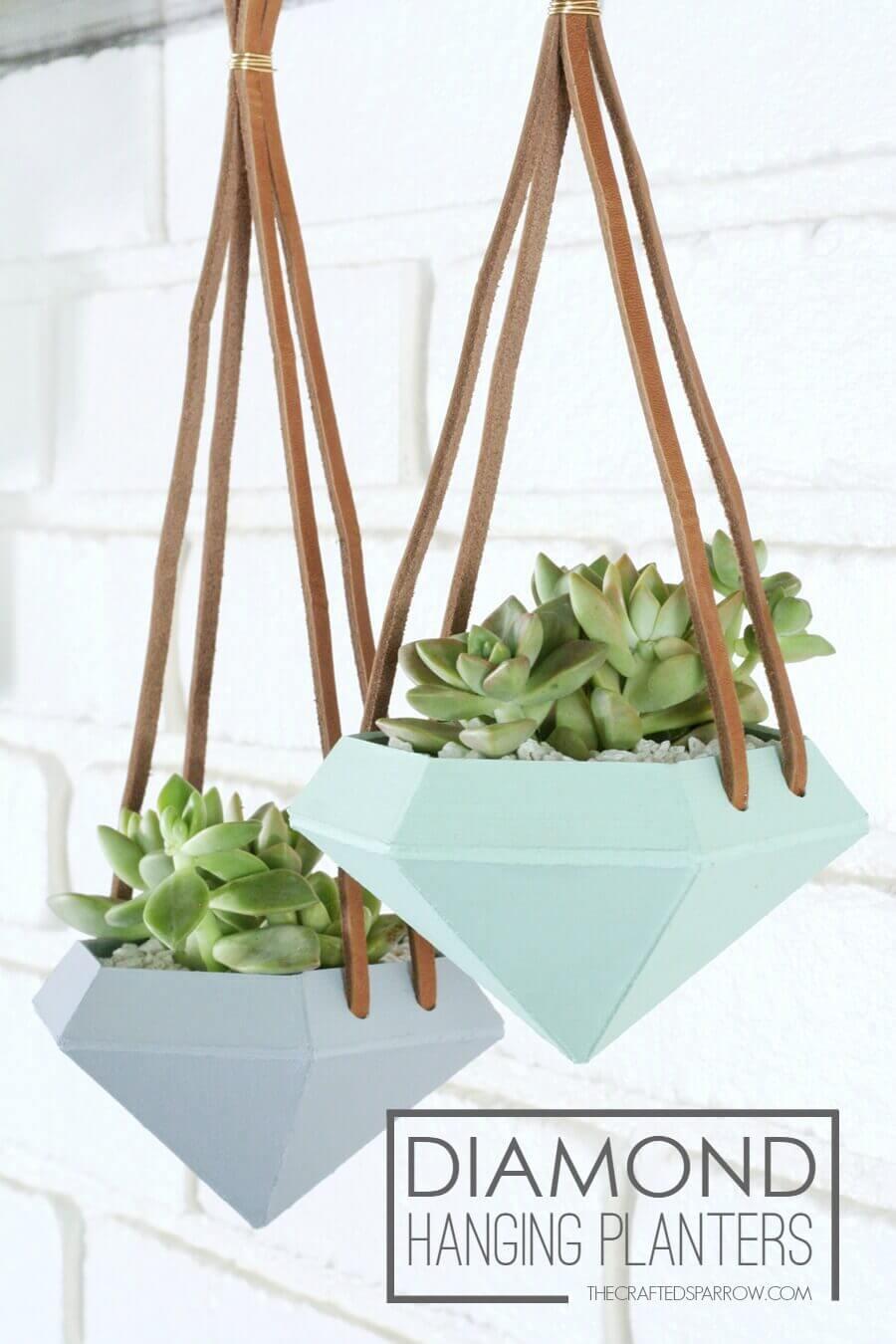 Ceramic Daimond Shaped Hanging Planters