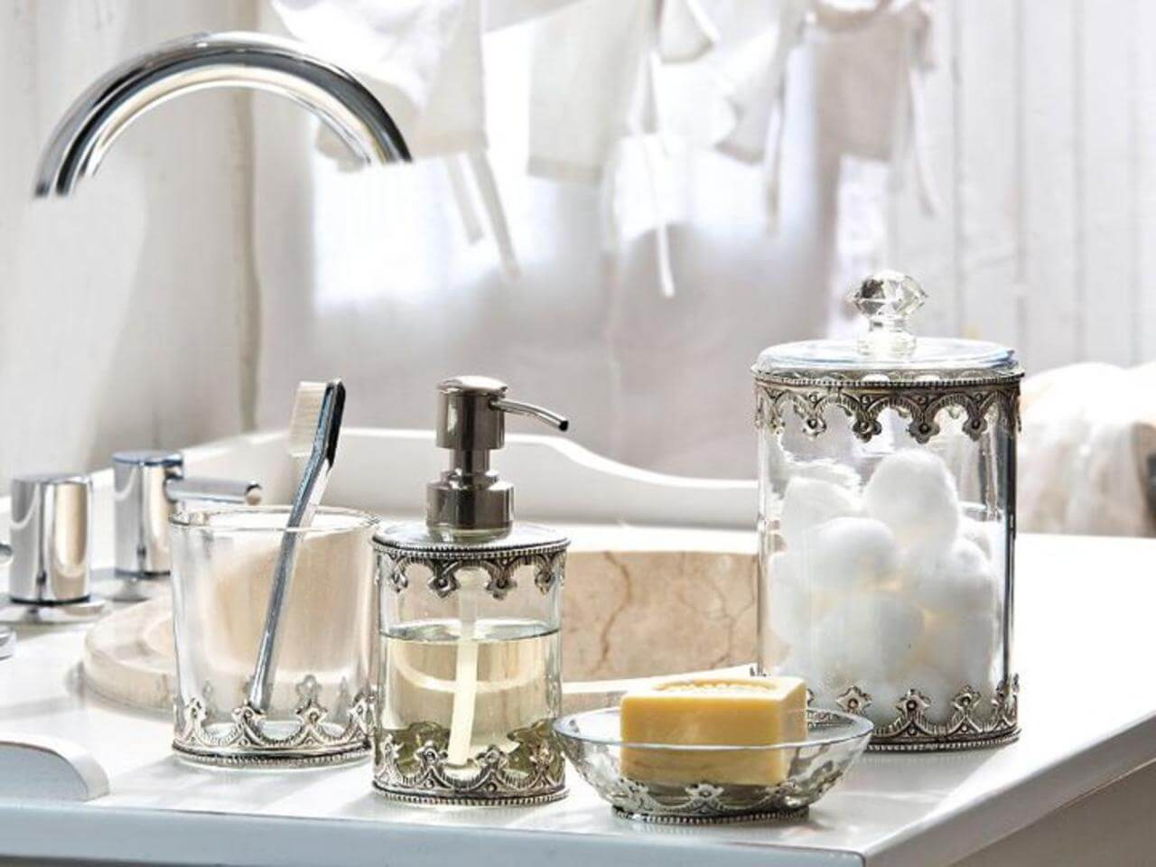 Vintage-Inspired Metal and Glass Bathroom Accessories