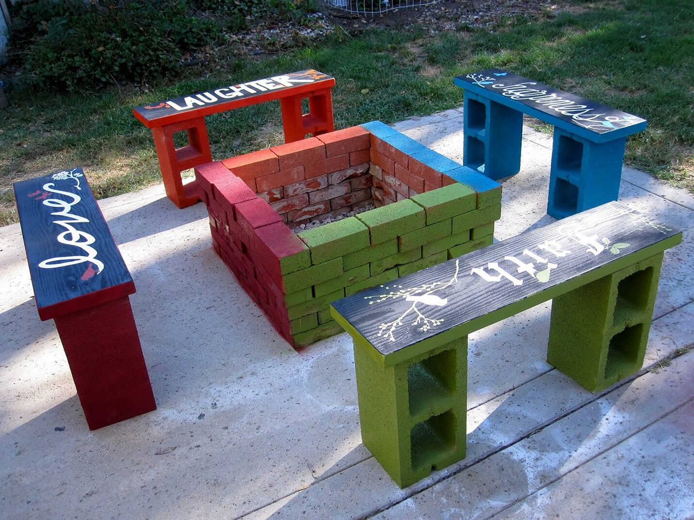 Inspirational and Colorful Cinder Block Fire Pit Gathering